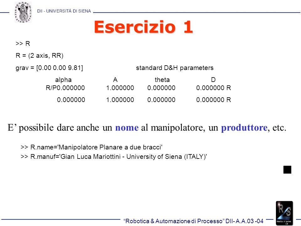 Esercizio 1 >> R. R = (2 axis, RR) grav = [0.00 0.00 9.81] standard D&H parameters.